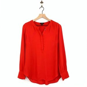 J.Crew Red Drapey Crepe Henley Tunic Top Size 2